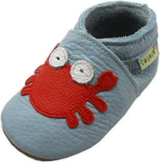 SAYOYO Baby Cute Crab Soft Sole Leather Baby Shoes Baby Moccasins