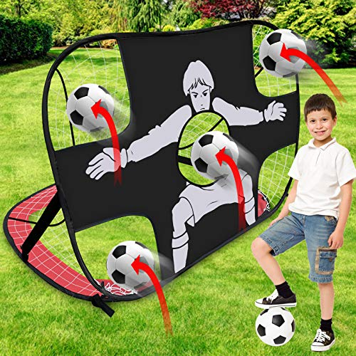 Yodeace Porterias de Futbol para Niños 120x80x80cm, 2 En 1 Red de Futbol de Tela Oxford Plegable Fácil de Montar para Patio Trasero Césped Juegos de Futbol Y Entrenamiento