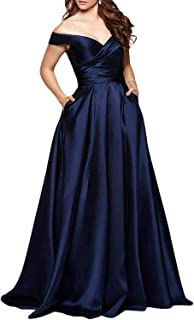 Martha Lia Long Off Shoulder Prom Evening Dresses Ruched Satin Formal Bridesmaid Gown with Pockets