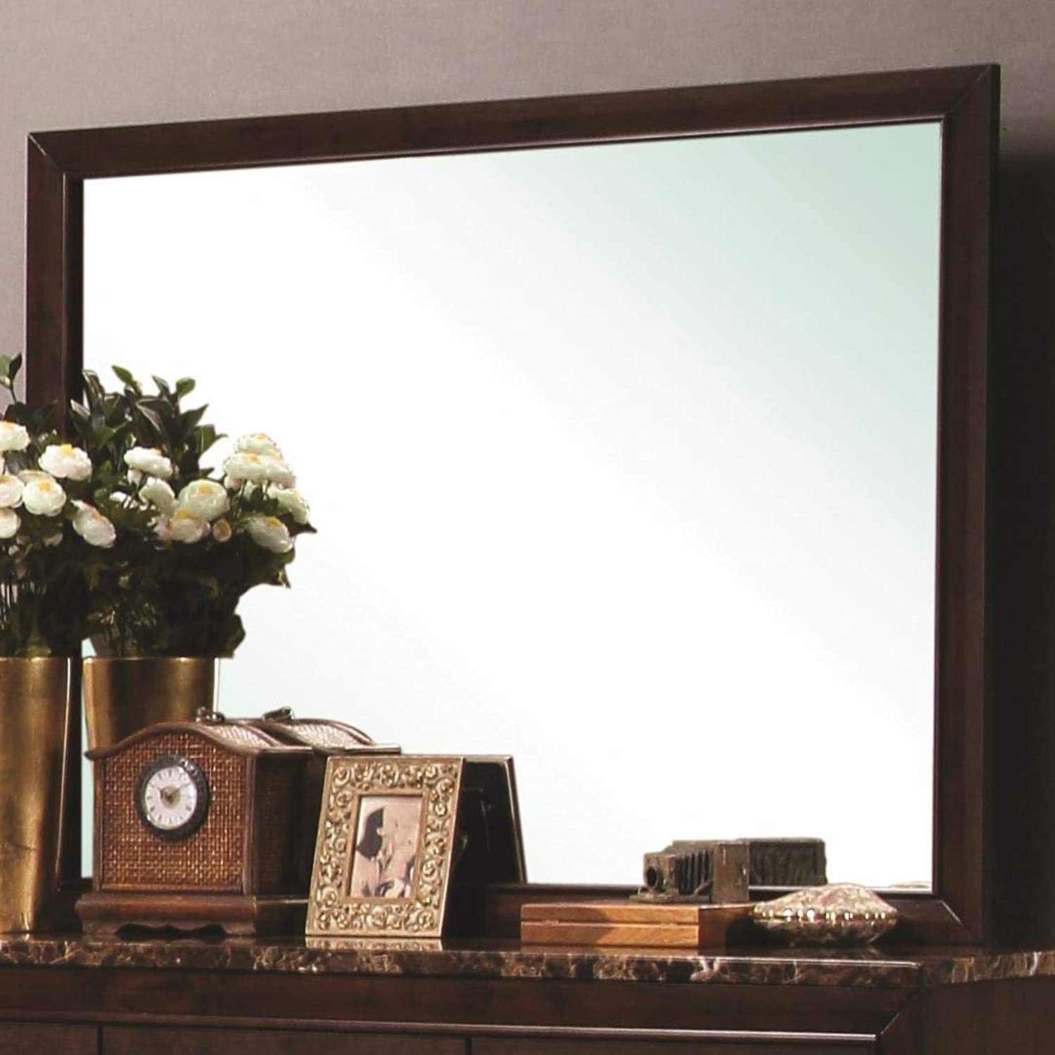 Benzara BM168131 Mirror with Wooden Frame, Brown
