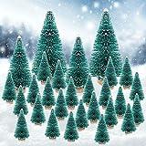 PERFETSELL 28 Mini albero di Natale Artificiale 4,8cm/9cm/13 cm Modello Miniatura con Effetto Neve, Mini Albero Decorativo per la Decorazione della Tavola, Fai da Te
