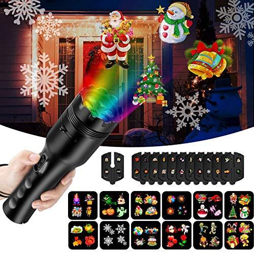 NEXGADGET Luces de Proyector y Linterna 2 en 1, Luces Decorativo con 12 Películas y Fijas con Batería Portátil para Niños y Decoración de Fiestas en Hogar, Cumpleaños, Navidad, Halloween