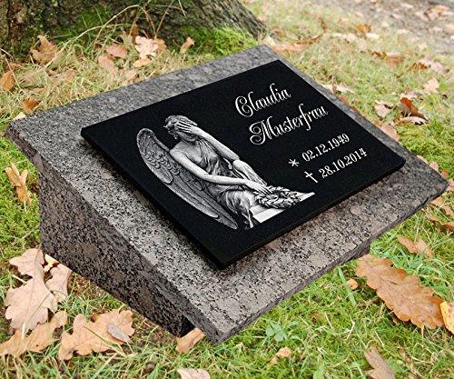 LaserArt24 Granit Grabstein, Grabplatte oder Grabschmuck mit dem Motiv Engel-gg7s und Ihrem Text/Daten
