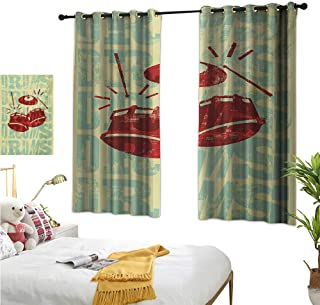 MartinDecor Vintage Blackout Draperies for Bedroom Groovy Retro Drumming Poster Design Percussion Rock Music Instrument Play Vibe Hit W55 x L39,Suitable for Bedroom Living Room Study, etc.