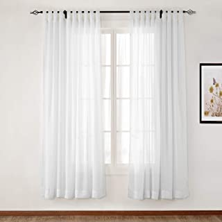 TWOPAGES White Sheer Curtain Voile Tab Top Curtain for Living Room, Window Treatment Drape (1 Panel, 52 x 63 Inches)