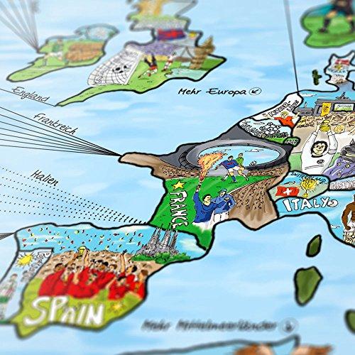 footballmap - die Welt des Fußballs, illustrierte Weltkarte: Torschützen, Rekordnationalspier, Fakten, liebevolle Illustrationen und mehr in einem einzigartigen Format