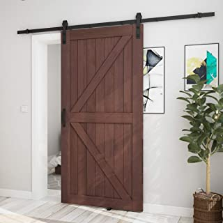 SMARTSTANDARD 42in x 84in Sliding Barn Door with 8ft Barn Door Hardware Kit & Handle, Pre-Drilled Need to Assemble, DIY Unfinished Solid Cypress Wood Panelled Slab, K-Frame, Coffee