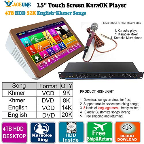 Buy 4TB HDD 52K Khmer/Cambodian VCD,DVD Songs,English VCD,DVD Songs Touch Screen Karaoke Player+Prof...