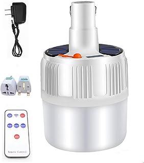Lámpara Solar Portátil Digital Bombilla de LED Solar Portatil con Control Remoto, Luz Solar para Interior Exterior, Luz de Emergencia Senderismo Tienda Camping Luz de Trabajo Nocturna (1PCS)