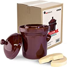 TSM Products Polish Fermenting Crock with Stone Weights, 5 L, Burnt Sienna
