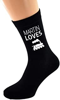 PERSONALISED NAME Loves Train Spotting and Image printed Mens Black Cotton Socks