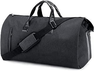 SUVOM ダッフルバッグ ガーメントバッグ スーツ用 キャリー 週末バッグ フライトバッグ 旅行 スポーツ ジム向け ブラック (靴とスーツケースを含む)
