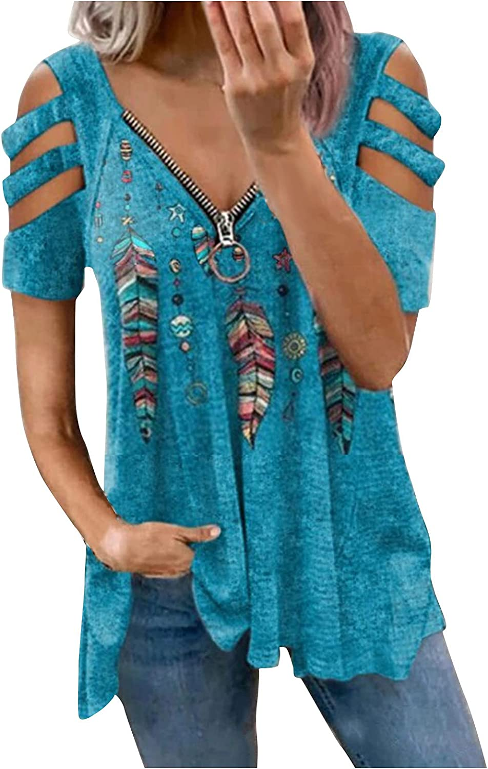Summer Tops for Women, Womens Zipper V Neck Flowy T-Shirts Strappy Short Sleeve Tops Blouse Casual Tunic Tee Top