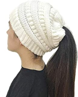 Free Ship Deals Women's Ponytail Beanie Hat, Warm Winter Hat for Messy Bun Ponytail Hole,No Messy Hair Ponytail Beanie Hat