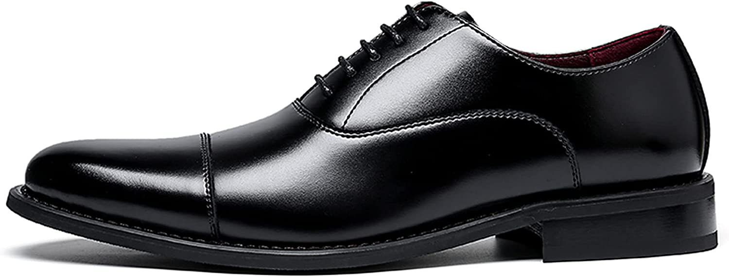 Men's Oxford Business Shoes Genuine Leather Dress Shoes Lace-up Commuting Anti-Slip Breathable Shoes