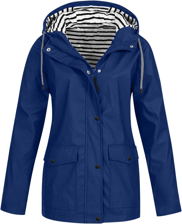 XXBR Womens Raincoat, Rain Jackets Outdoor Active Waterproof Button Zipper Hooded Windproof Hiking Lightweight Outerwear
