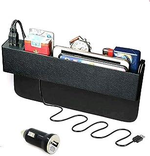 Baobë Seitliche Organizer Box für Autositze,Aufbewahrungsbox Für Auto, Füller für Autolücken,Organizer für Autotaschen und 2 USB Ladestationen für Mobiltelefone
