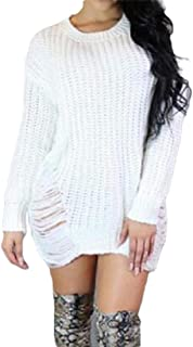 Women's Warm Loose Pullover Long Sleeve Ripped Distressed Knitted Mid Sweater Dress Tops