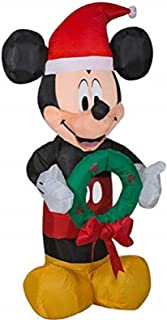 Gemmy Inflatable Mickey Mouse 3.5Ft. Tall with Wreath Outdoor Holiday Decoration