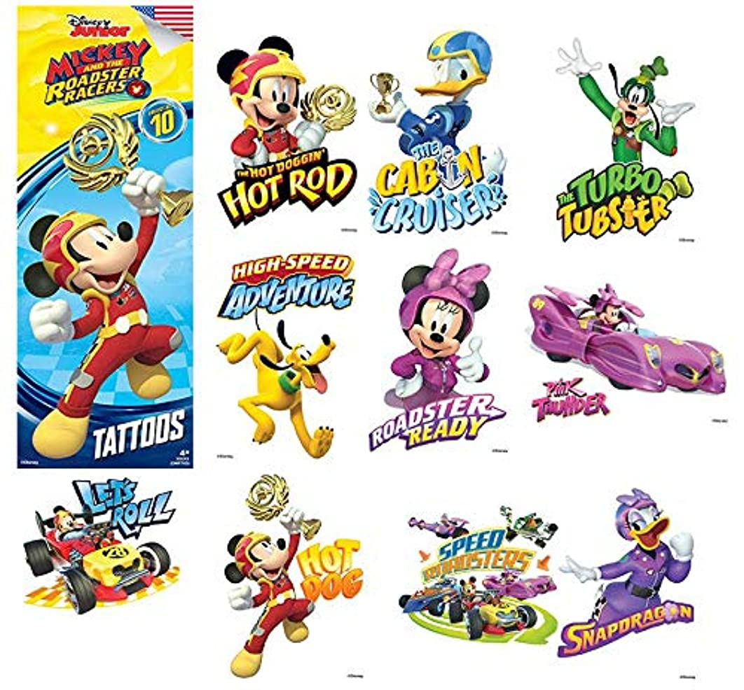 Mickey Mouse Roadster Set of 10 Tattoos - Great for Party Favors! 2.5x3.5 Inches
