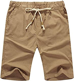 NITAGUT Men's Linen Casual Classic Fit Short Drawstring Summer Beach Shorts