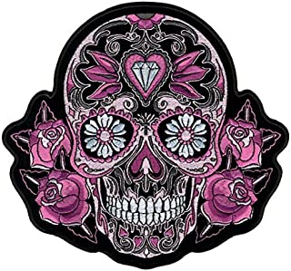 Hot Leathers, PINK SUGAR SKULL AND ROSES, High Quality Iron-On / Saw-On, Heat Sealed Backing Rayon PATCH - 8