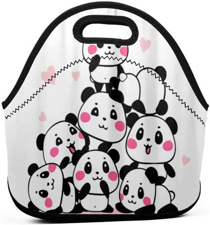 ADONINELP Bolsa de almuerzo portátil para Bento,muchos pandas lindos de dibujos animados se reúnen en una pila,fondo blanco,neopreno cremallera para la escuela,el trabajo,la oficina,el bolso de viaje
