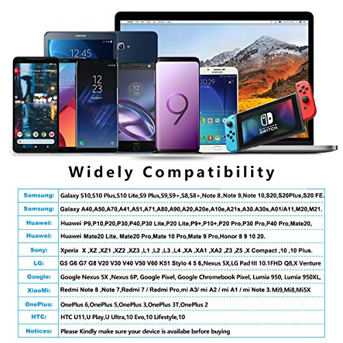 USB C Kabel,[2 Stück 2M] Nylon Ladekabel USB C Fast Charge Schnellladekabel Typ C Ladekabel für Samsung Galaxy A51 A50 A41 A40 A71 A21s A20 A20e S8 S9 S10 S20 fe,Note 10 9 8,Huawei P40 P30 P20 P10 P9.