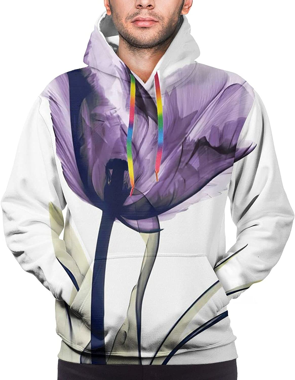 Topics on TV Flowers Elegant Tulip Purple Flower Long Sleeve Sales of SALE items from new works Pullover Hoodies