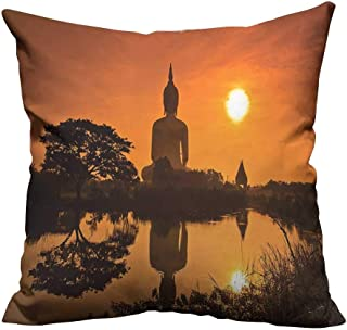 alsohome Throw Pillow Covers Big Giant Statue by The River at Sunset Thai Asian Culture Scene Yin Sofa Bed Home Decoration27.5x27.5 inch(Double-Sided Printing)