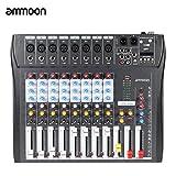 ammoon Console de Mixage Table de Mixage 8 Canaux Ligne de Micro Numérique Mixage Audio CT80S-USB avec Alimentation Fantôme 48V pour Enregistrement DJ Scène Karaoké