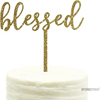 Andaz Press Baby Baptism Acrylic Cake Toppers, Gold Glitter, Blessed, 1-Pack, Twins Communion Christening