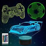 CooPark 3D Juego de fútbol Lámpara de coche de carreras 16 colores y control remoto Luz de noche LED óptica Iluminación de cabecera Regalos Juguetes para niños Niños para cumpleaños Vacaciones Navidad