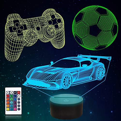 CooPark 3D Fußballspiel Rennwagen Lampe 16 Farben & Fernbedienung Optische LED Nachtlicht Nachttisch Beleuchtung Geschenke Spielzeug für Jungen Kinder für Geburtstagsferien Weihnachten