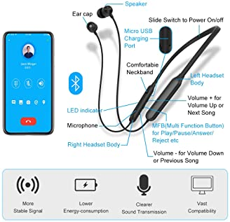 Bluetooth Headphones Transmitter for TV Watching, Golvery Neckband Wireless Stereo Earphones Earbuds Set w/Transmitte...