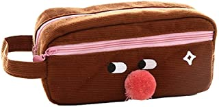 WSJTT Pencil Pouch Big Capacity Creative Big Nose Pencil Pen Case Cosmetic Makeup Bag Storage Pouch Marker Pen Pencil Case Stationery Bag (Color : Brown)