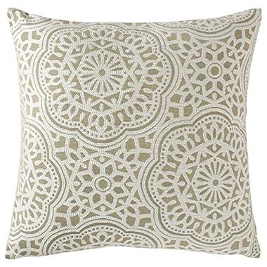 Stone & Beam Medallion Pillow, 17  x 17 , Sea Salt