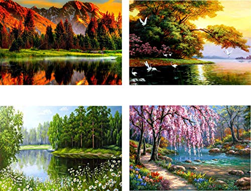 4 Pack 5D Diamond Painting Art Dotz Paint by Numbers Full Drill Kits Supplies for Adults Kids Lake Tree Woodland Scenery Landscape Wall Decor, 12X16inch