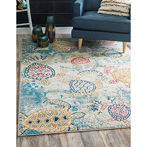 Underwater Sea Turtles Design Area Rug, Featuring Nautical Animals Theme, Rectangle Indoor Hallway Doorway Bedroom Dining Area Sofa Patio Carpet, Coastal Beach Lovers Motif, Cream, Blue, Size 8' x 10'