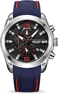 ساعة MEGIR رياضية للرجال انالوج كرونوغراف كوارتز مضيء مع حزام سيليكون أنيق