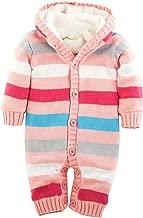 iLOOSKR Kids Winter Warm Knit Sweater Newborn Toddler Baby Boy Striped Jumpsuit Hooded Sweater Jacket