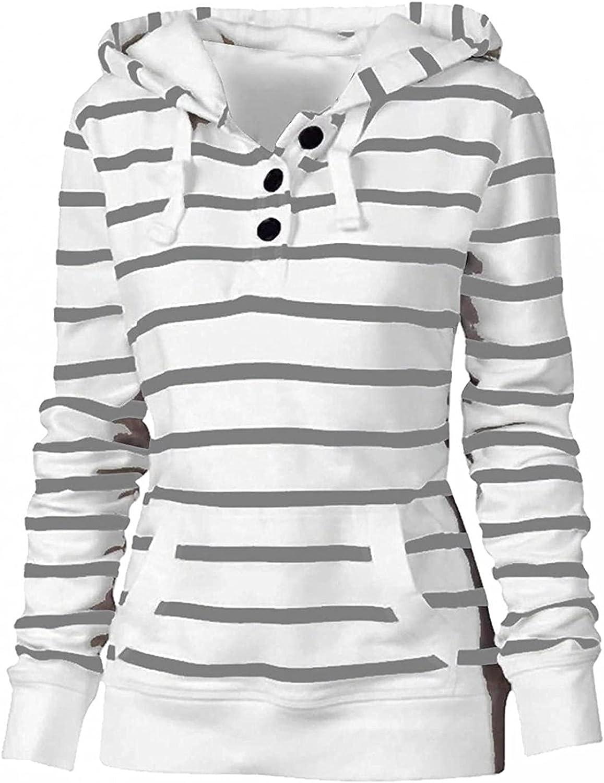UQGHQO Sweatshirt for Women, Women's Long Sleeve Stripe Print Jacket Coat Casual Lightweight Zip Up Hoodies with Pocket