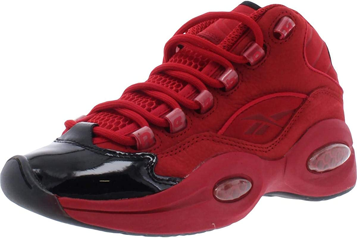 Reebok Boys Question Mid Leather Youth Basketball Shoes Red 4 Medium (D) Big Kid