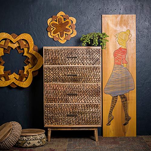 Native Home Commode à Motif 4 Tiroirs Bois de Manguier Massif Bahut Design Moderne Chiffonnier HLP 134x81x46cm Nature