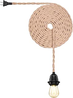 Vintage Weatherproof Ceiling Pendant Light Kit with Twisted Hemp Rope Hanging Lighting Cord Fixture 16.6 FT E26 Outdoor Fi...