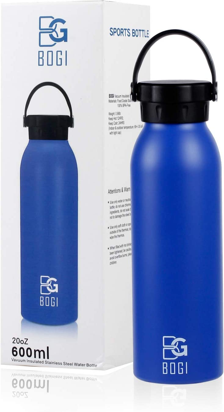 BOGI 25oz Insulated Water Bottle Double Wall Vacuum Stainless Steel Bottle Leak Proof Keeps Hot and Cold Drinks for Outdoor Sports Camping Hiking Cycling