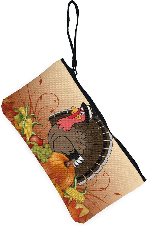 AORRUAM Harvest Turkey Canvas Coin Purse,Canvas Zipper Pencil Cases,Canvas Change Purse Pouch Mini Wallet Coin Bag