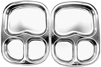 Korean Stainless Steel Divided Plates by KS&E, Kids Toddlers Babies Tray, BPA Free, Diet Food Control, Camping Dishes, Com...