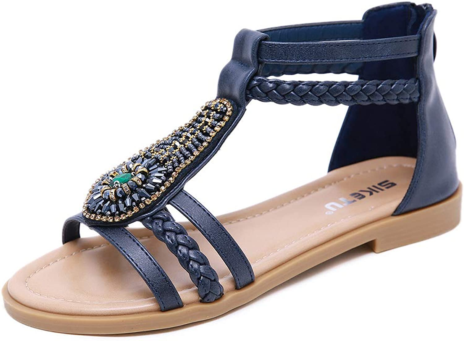 Flat Sandals for Women,Bohemian Rhinestone Wedges with Comfortable Roman shoes,Navy,US7B(M)