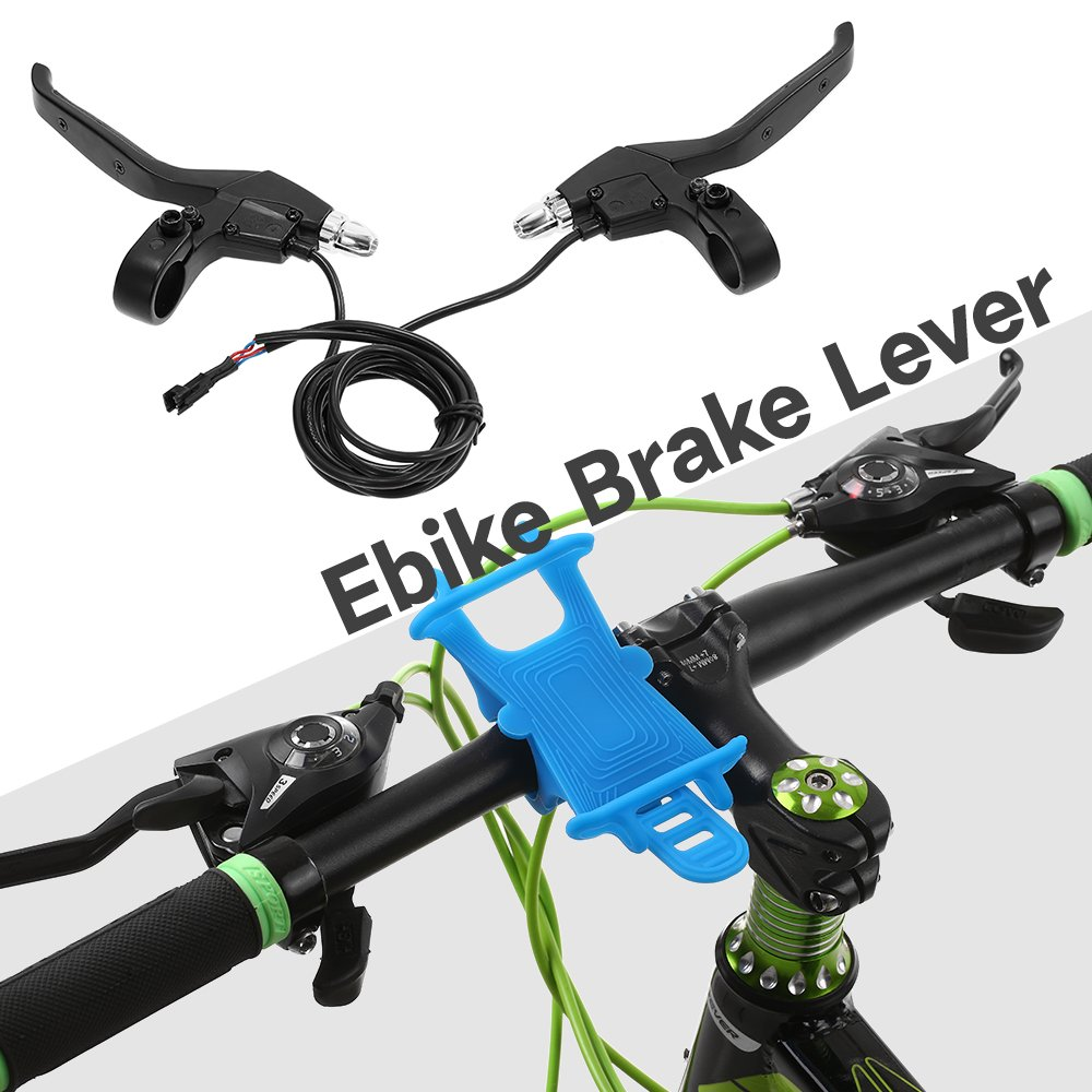 MAGT Lever Handle Bar 1 Pair Aluminum Alloy Electric Bicycle E-Bike Rear Brake Lever Handle Bar Grips Assembly Sliver